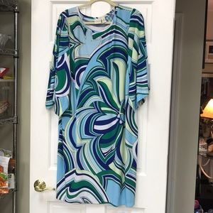 Chico's Blue & Green Whimsical Print Dress